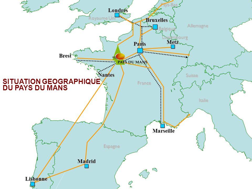 Royaume Uni France Espagne Italie Allemagne Belgique Pays-Bas Luxembourg Suisse SITUATION GEOGRAPHIQUE DU PAYS DU MANSMadrid Bruxelles Londres Marseil