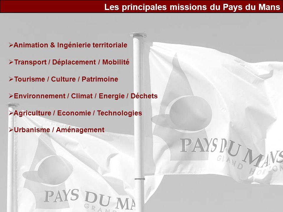 Les principales missions du Pays du Mans Animation & Ingénierie territoriale Transport / Déplacement / Mobilité Tourisme / Culture / Patrimoine Enviro