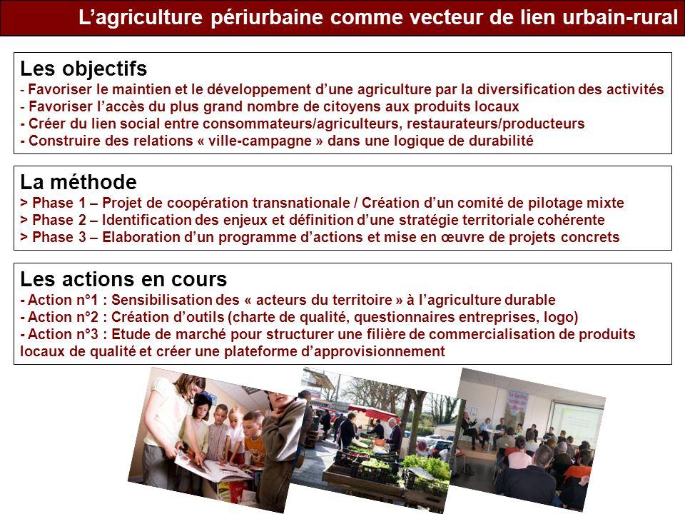 Lagriculture périurbaine comme vecteur de lien urbain-rural Les objectifs - Favoriser le maintien et le développement dune agriculture par la diversif
