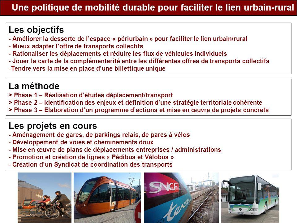 Une politique de mobilité durable pour faciliter le lien urbain-rural Les objectifs - Améliorer la desserte de lespace « périurbain » pour faciliter l