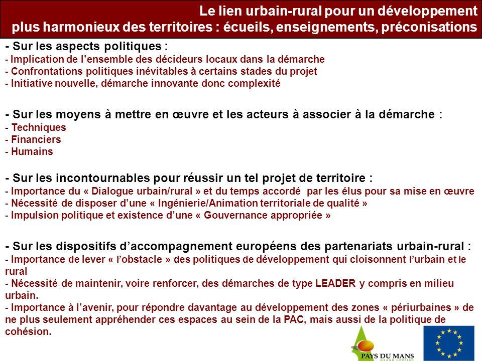 - Sur les aspects politiques : - Implication de lensemble des décideurs locaux dans la démarche - Confrontations politiques inévitables à certains sta