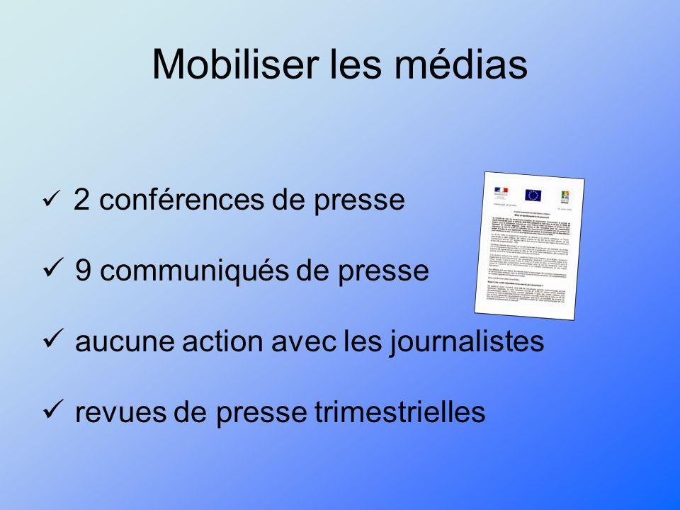 Mobiliser les médias 2 conférences de presse 9 communiqués de presse aucune action avec les journalistes revues de presse trimestrielles