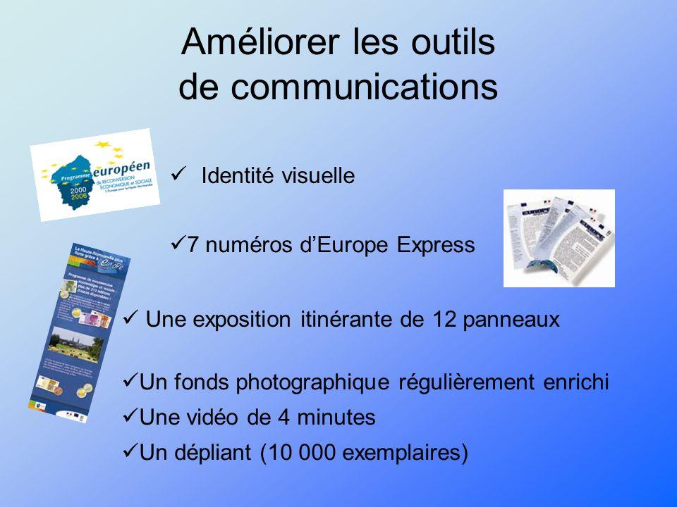 Améliorer les outils de communications Identité visuelle Une exposition itinérante de 12 panneaux 7 numéros dEurope Express Un fonds photographique régulièrement enrichi Une vidéo de 4 minutes Un dépliant (10 000 exemplaires)