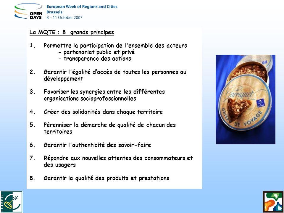 La MQTE : 8 grands principes 1.Permettre la participation de l ensemble des acteurs - partenariat public et privé - transparence des actions 2.Garantir l égalité daccès de toutes les personnes au développement 3.Favoriser les synergies entre les différentes organisations socioprofessionnelles 4.