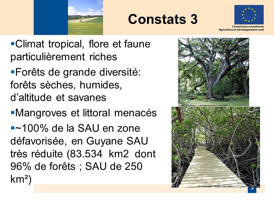 4 Constats 3 Climat tropical, flore et faune particulièrement riches Forêts de grande diversité: forêts sèches, humides, daltitude et savanes Mangroves et littoral menacés ~100% de la SAU en zone défavorisée, en Guyane SAU très réduite (83.534 km2 dont 96% de forêts ; SAU de 250 km²)