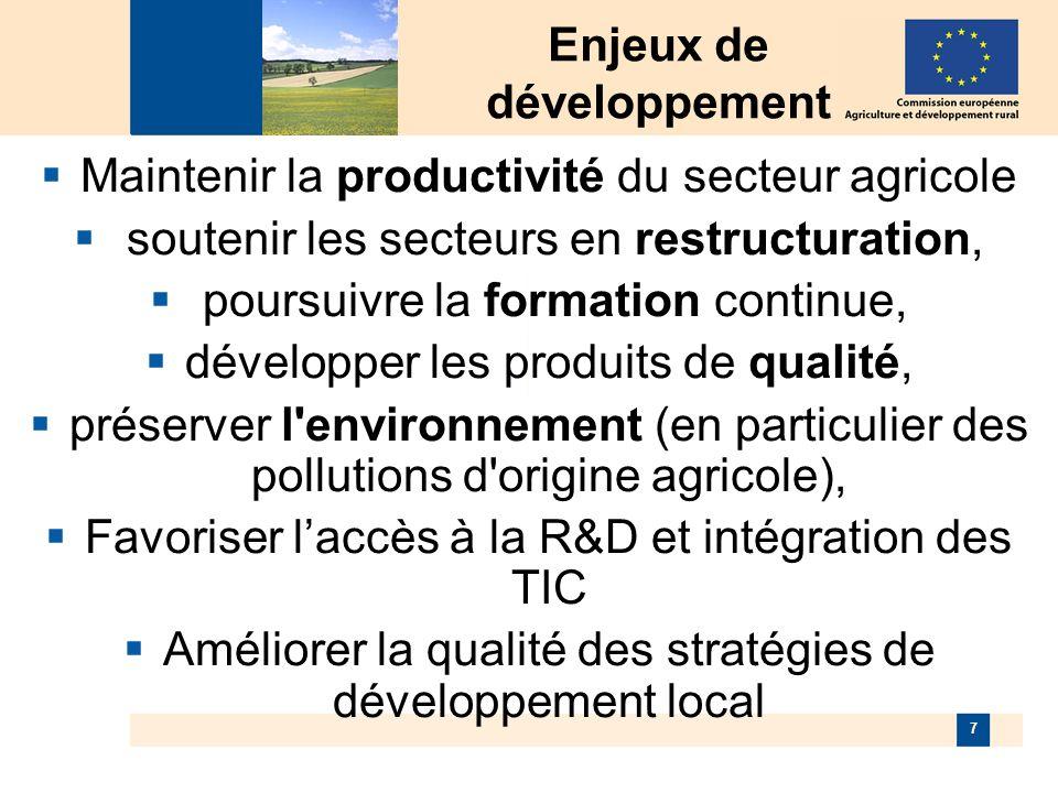 7 Enjeux de développement Maintenir la productivité du secteur agricole soutenir les secteurs en restructuration, poursuivre la formation continue, développer les produits de qualité, préserver l environnement (en particulier des pollutions d origine agricole), Favoriser laccès à la R&D et intégration des TIC Améliorer la qualité des stratégies de développement local