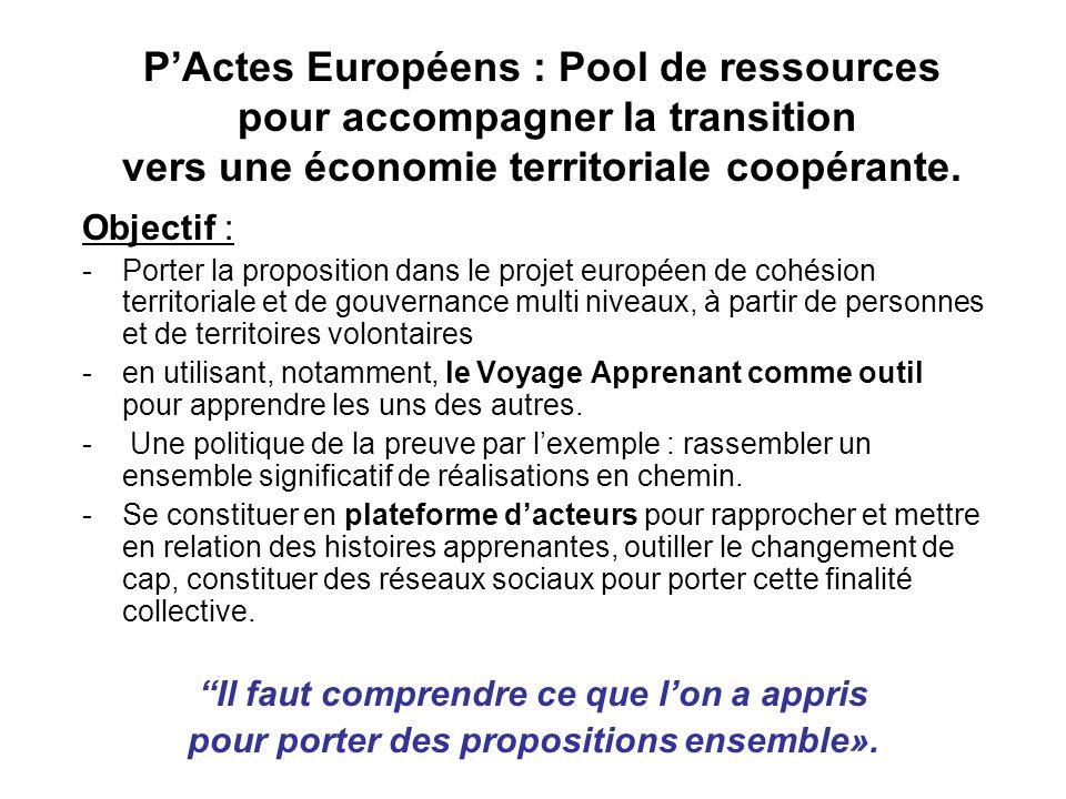 PActes Européens : Pool de ressources pour accompagner la transition vers une économie territoriale coopérante.