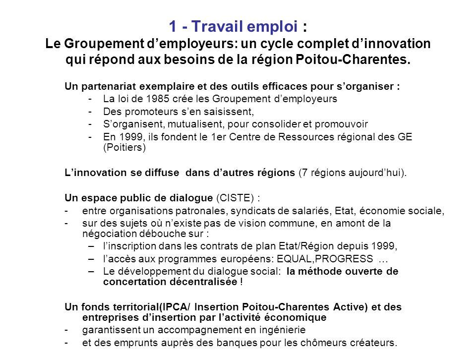 1 - Travail emploi : Le Groupement demployeurs: un cycle complet dinnovation qui répond aux besoins de la région Poitou-Charentes.