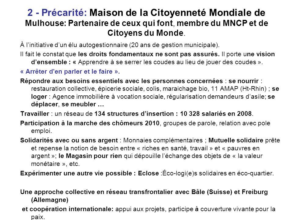 2 - Précarité: Maison de la Citoyenneté Mondiale de Mulhouse: Partenaire de ceux qui font, membre du MNCP et de Citoyens du Monde.