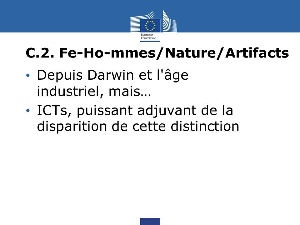 C.2. Fe-Ho-mmes/Nature/Artifacts Depuis Darwin et l'âge industriel, mais… ICTs, puissant adjuvant de la disparition de cette distinction