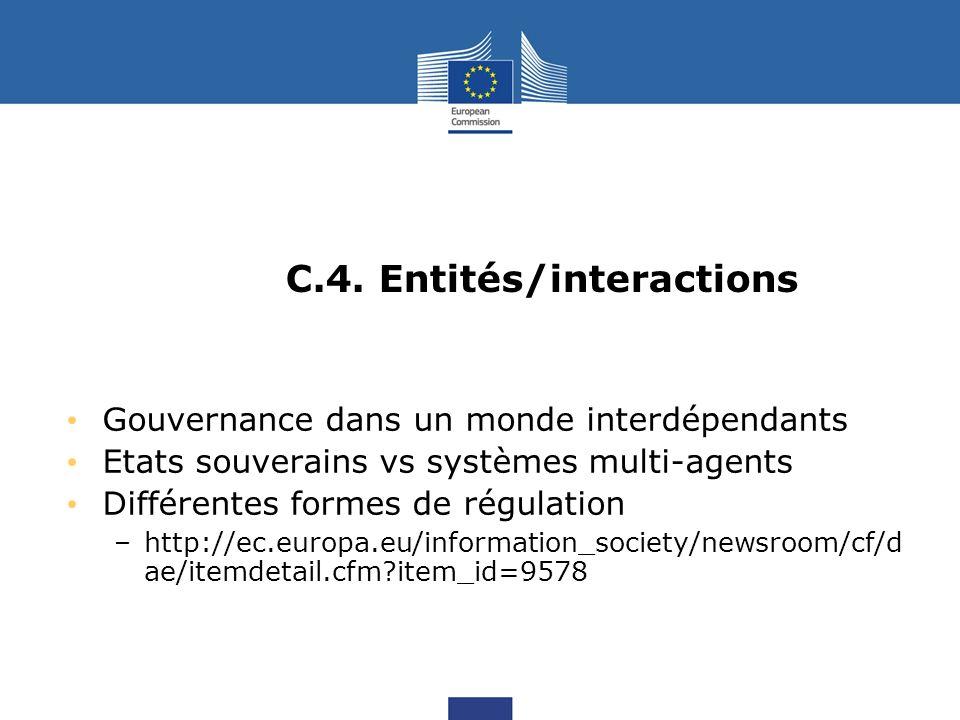 C.4. Entités/interactions Gouvernance dans un monde interdépendants Etats souverains vs systèmes multi-agents Différentes formes de régulation –http:/