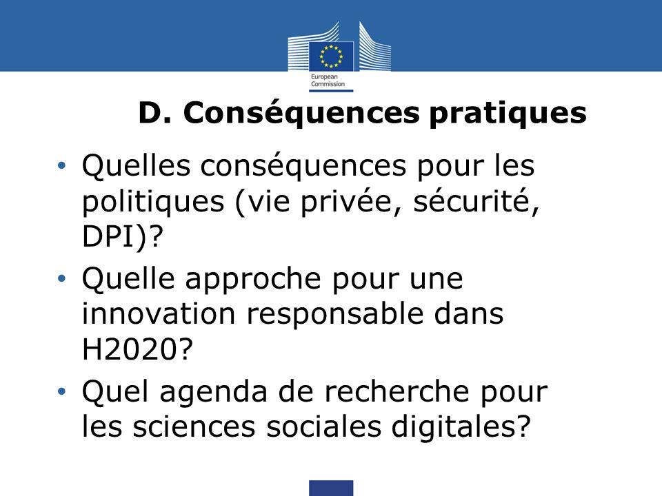 D. Conséquences pratiques Quelles conséquences pour les politiques (vie privée, sécurité, DPI).
