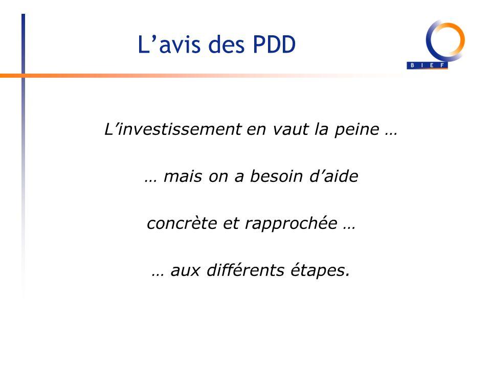 Lavis des PDD Linvestissement en vaut la peine … … mais on a besoin daide concrète et rapprochée … … aux différents étapes.