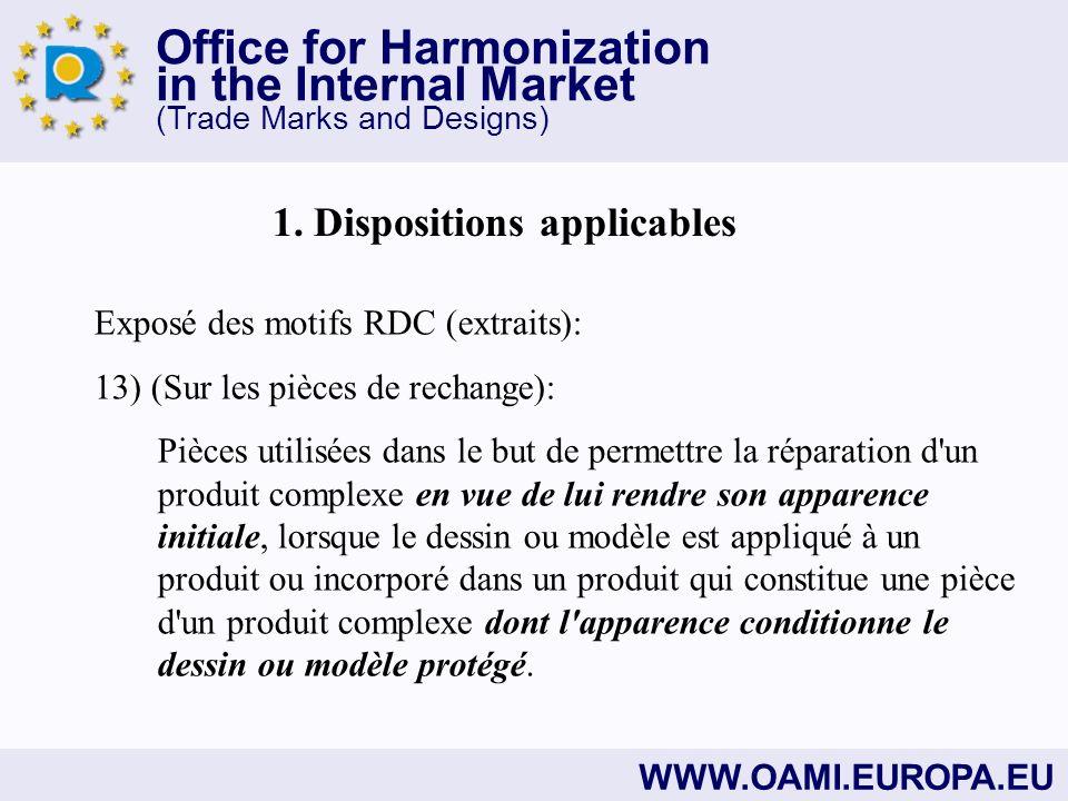 Office for Harmonization in the Internal Market (Trade Marks and Designs) WWW.OAMI.EUROPA.EU Merci de votre attention !