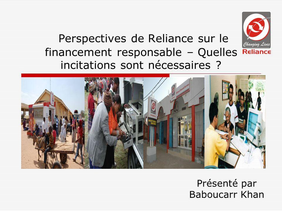 Perspectives de Reliance sur le financement responsable – Quelles incitations sont nécessaires .