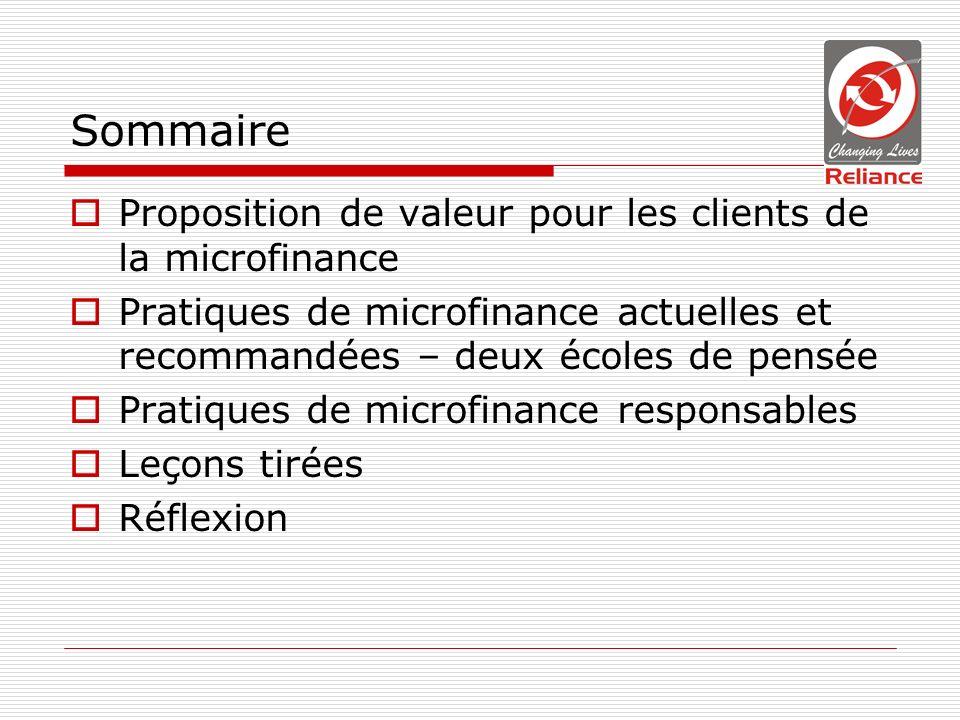 Sommaire Proposition de valeur pour les clients de la microfinance Pratiques de microfinance actuelles et recommandées – deux écoles de pensée Pratiques de microfinance responsables Leçons tirées Réflexion
