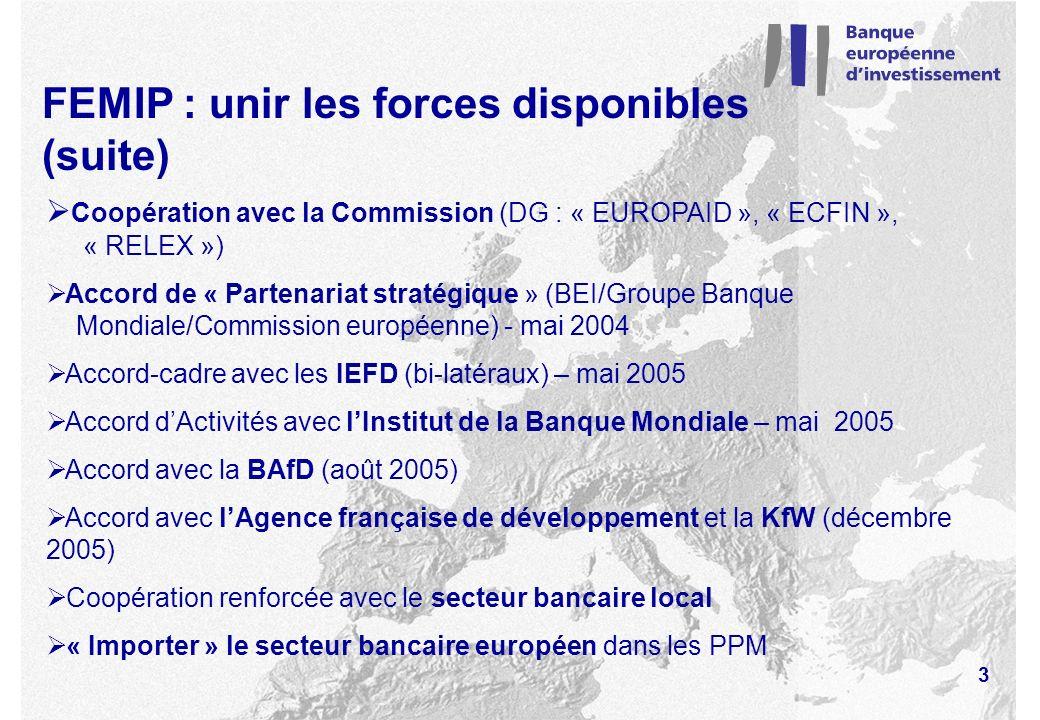 FEMIP : unir les forces disponibles (suite) Coopération avec la Commission (DG : « EUROPAID », « ECFIN », « RELEX ») Accord de « Partenariat stratégique » (BEI/Groupe Banque Mondiale/Commission européenne) - mai 2004 Accord-cadre avec les IEFD (bi-latéraux) – mai 2005 Accord dActivités avec lInstitut de la Banque Mondiale – mai 2005 Accord avec la BAfD (août 2005) Accord avec lAgence française de développement et la KfW (décembre 2005) Coopération renforcée avec le secteur bancaire local « Importer » le secteur bancaire européen dans les PPM 3