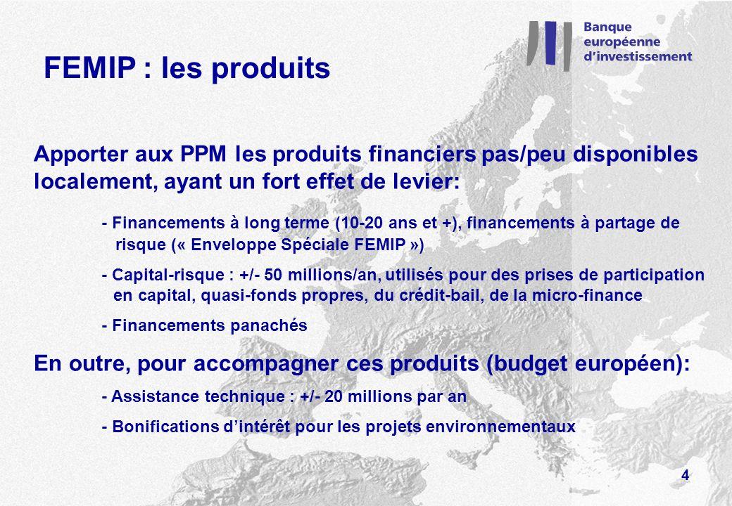FEMIP : les produits Apporter aux PPM les produits financiers pas/peu disponibles localement, ayant un fort effet de levier: - Financements à long terme (10-20 ans et +), financements à partage de risque (« Enveloppe Spéciale FEMIP ») - Capital-risque : +/- 50 millions/an, utilisés pour des prises de participation en capital, quasi-fonds propres, du crédit-bail, de la micro-finance - Financements panachés En outre, pour accompagner ces produits (budget européen): - Assistance technique : +/- 20 millions par an - Bonifications dintérêt pour les projets environnementaux 4