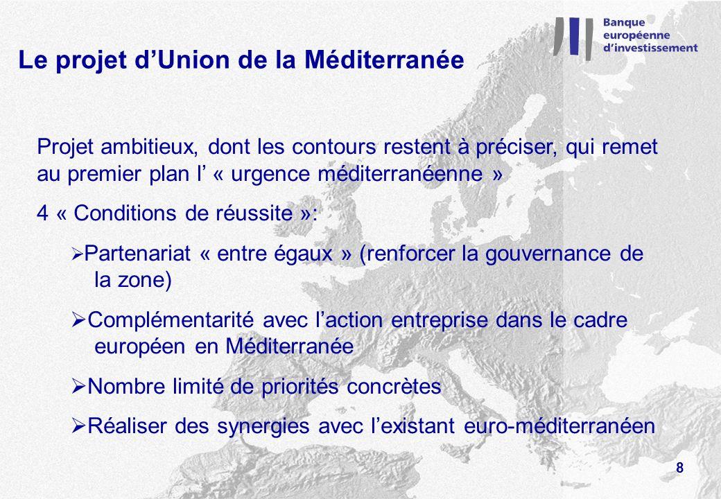 Le projet dUnion de la Méditerranée Projet ambitieux, dont les contours restent à préciser, qui remet au premier plan l « urgence méditerranéenne » 4 « Conditions de réussite »: Partenariat « entre égaux » (renforcer la gouvernance de la zone) Complémentarité avec laction entreprise dans le cadre européen en Méditerranée Nombre limité de priorités concrètes Réaliser des synergies avec lexistant euro-méditerranéen 8