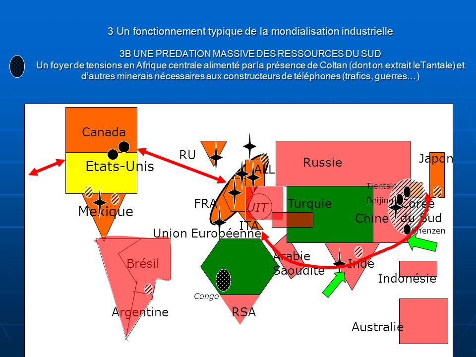 3 Un fonctionnement typique de la mondialisation industrielle 3B UNE PREDATION MASSIVE DES RESSOURCES DU SUD Un foyer de tensions en Afrique centrale