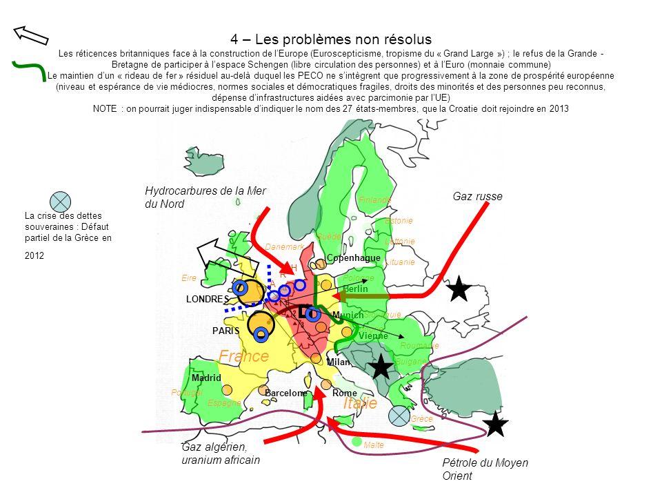 4 – Les problèmes non résolus Les réticences britanniques face à la construction de lEurope (Euroscepticisme, tropisme du « Grand Large ») ; le refus