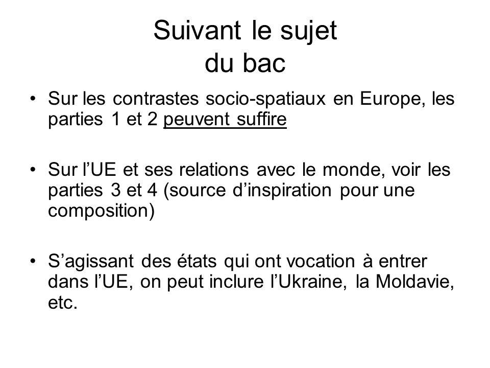 Suivant le sujet du bac Sur les contrastes socio-spatiaux en Europe, les parties 1 et 2 peuvent suffire Sur lUE et ses relations avec le monde, voir l