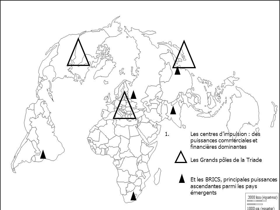 1.Les centres dimpulsion : des puissances commerciales et financières dominantes Les Grands pôles de la Triade Et les BRICS, principales puissances ascendantes parmi les pays émergents Les six grandes puissances marchandes Etats-Unis Allemagne France Chine Japon Pays-Bas