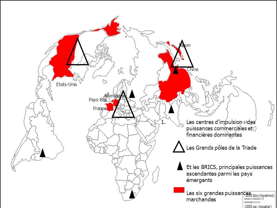 1.Les centres dimpulsion : des puissances commerciales et financières dominantes Les Grands pôles de la Triade Et les BRICS, principales puissances as