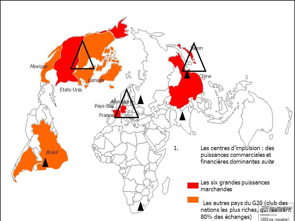 1.Les centres dimpulsion : des puissances commerciales et financières dominantes suite Les six grandes puissances marchandes Les autres pays du G20 (club des nations les plus riches, qui réalisent 80% des échanges) Etats-Unis Chine Japon Brésil Canada Mexique France Pays-Bas Allemagne UE Afrique du Sud Argentine