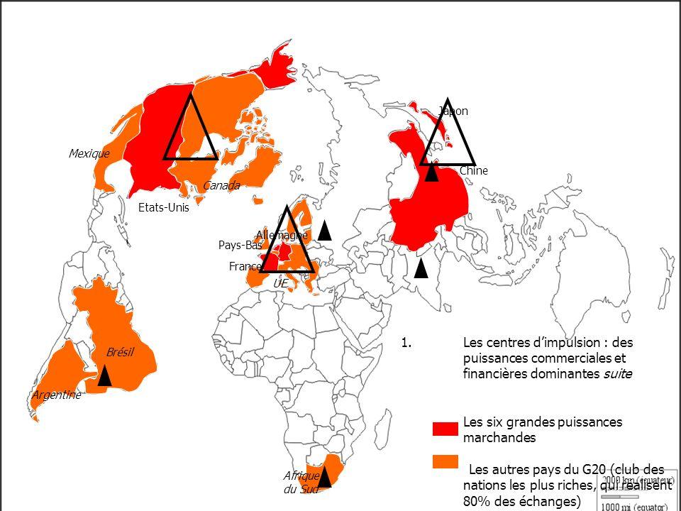 1.Les centres dimpulsion : des puissances commerciales et financières dominantes suite Les six grandes puissances marchandes Les autres pays du G20 (club des nations les plus riches, qui réalisent 80% des échanges) Etats-Unis Chine Japon Brésil Canada Mexique France Pays-Bas Allemagne UE Afrique du Sud Argentine Arabie S.