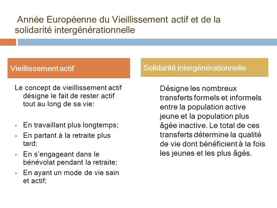 Année Européenne du Vieillissement actif et de la solidarité intergénérationnelle Le concept de vieillissement actif désigne le fait de rester actif t