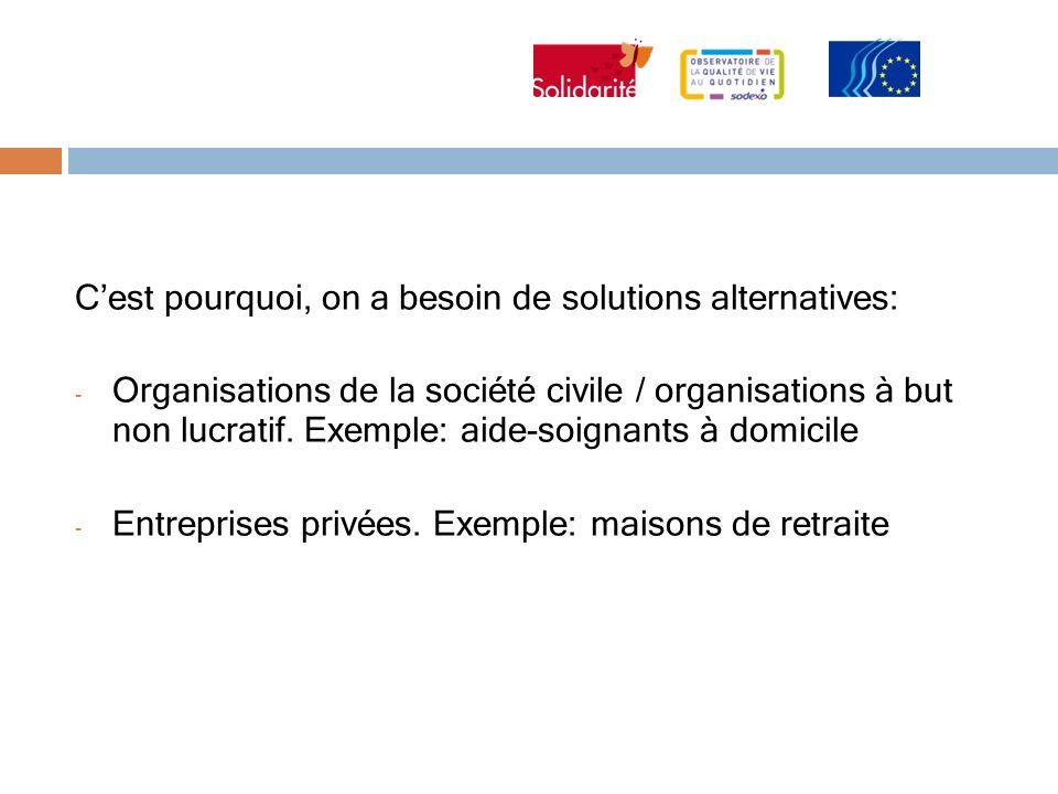 Cest pourquoi, on a besoin de solutions alternatives: - Organisations de la société civile / organisations à but non lucratif. Exemple: aide-soignants