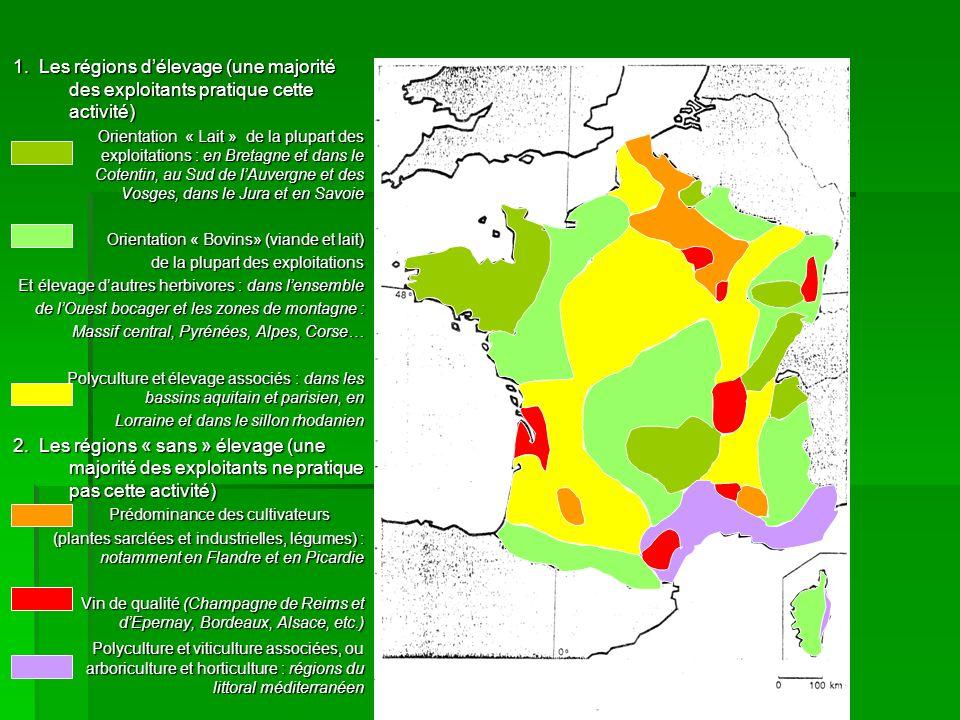 1. Les régions délevage (une majorité des exploitants pratique cette activité) Orientation « Lait » de la plupart des exploitations : en Bretagne et d