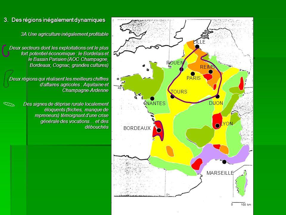 3. Des régions inégalement dynamiques 3A Une agriculture inégalement profitable Deux secteurs dont les exploitations ont le plus fort potentiel économ