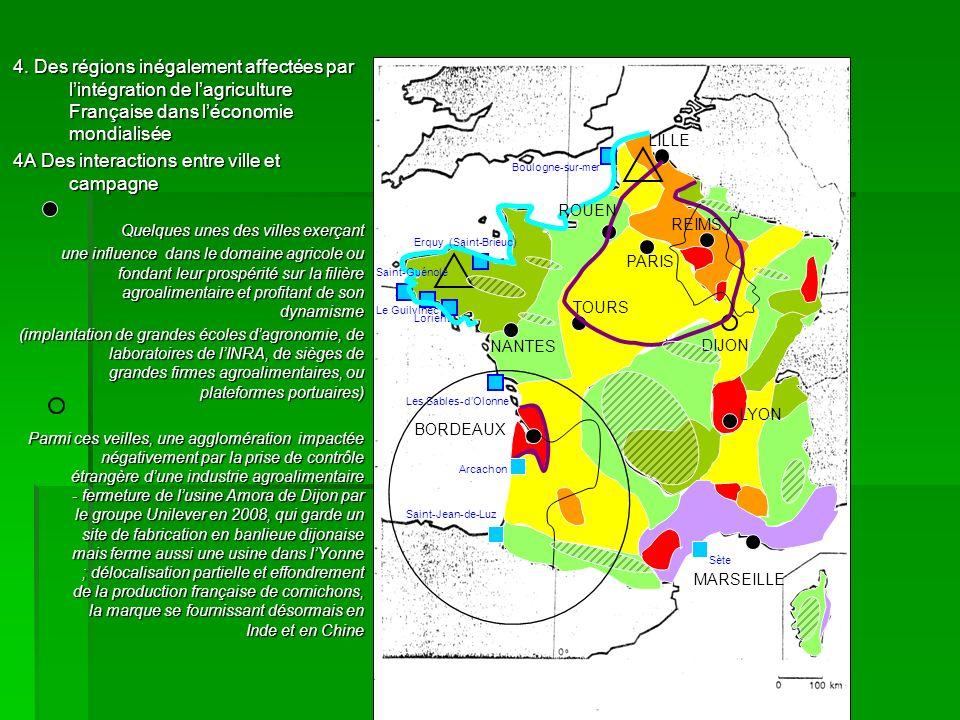 4. Des régions inégalement affectées par lintégration de lagriculture Française dans léconomie mondialisée 4A Des interactions entre ville et campagne