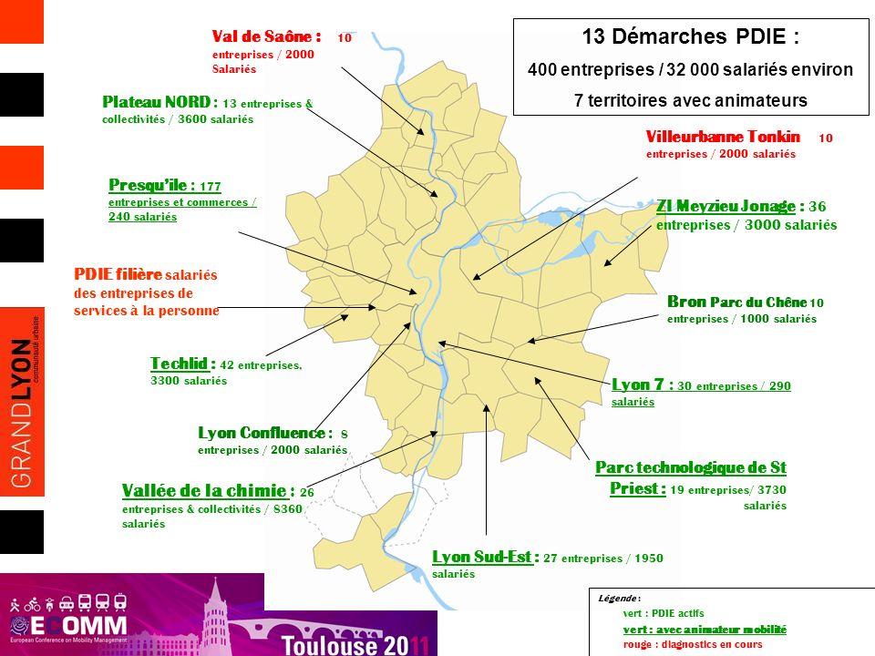 Plateau NORD : 13 entreprises & collectivités / 3600 salariés Parc technologique de St Priest : 19 entreprises/ 3730 salariés Presquile : 177 entrepri