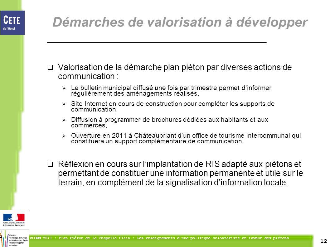 12 ECOMM 2011 : Plan Piéton de La Chapelle Clain : Les enseignements dune politique volontariste en faveur des piétons 12 Valorisation de la démarche