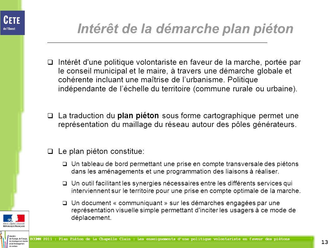 13 ECOMM 2011 : Plan Piéton de La Chapelle Clain : Les enseignements dune politique volontariste en faveur des piétons 13 Intérêt d une politique volontariste en faveur de la marche, portée par le conseil municipal et le maire, à travers une démarche globale et cohérente incluant une maîtrise de lurbanisme.