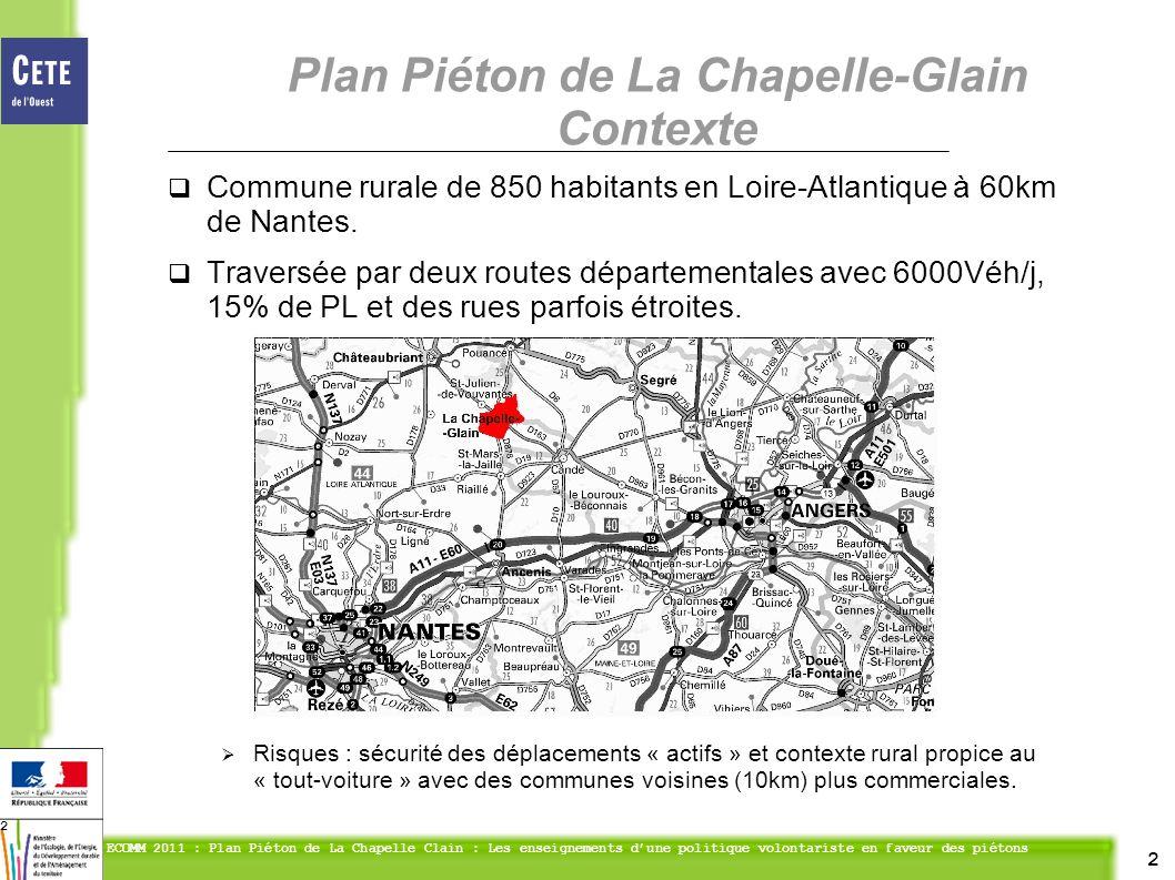 2 ECOMM 2011 : Plan Piéton de La Chapelle Clain : Les enseignements dune politique volontariste en faveur des piétons 2 Commune rurale de 850 habitants en Loire-Atlantique à 60km de Nantes.