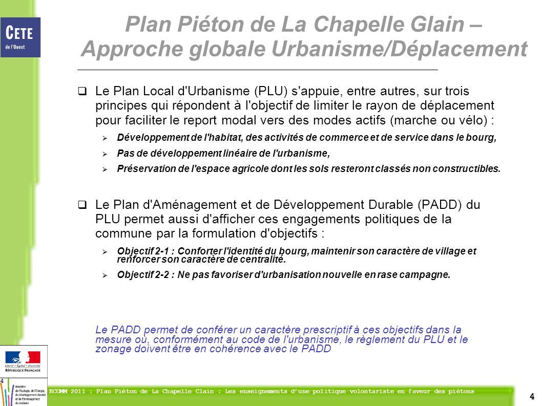 4 ECOMM 2011 : Plan Piéton de La Chapelle Clain : Les enseignements dune politique volontariste en faveur des piétons 4 Le Plan Local d'Urbanisme (PLU