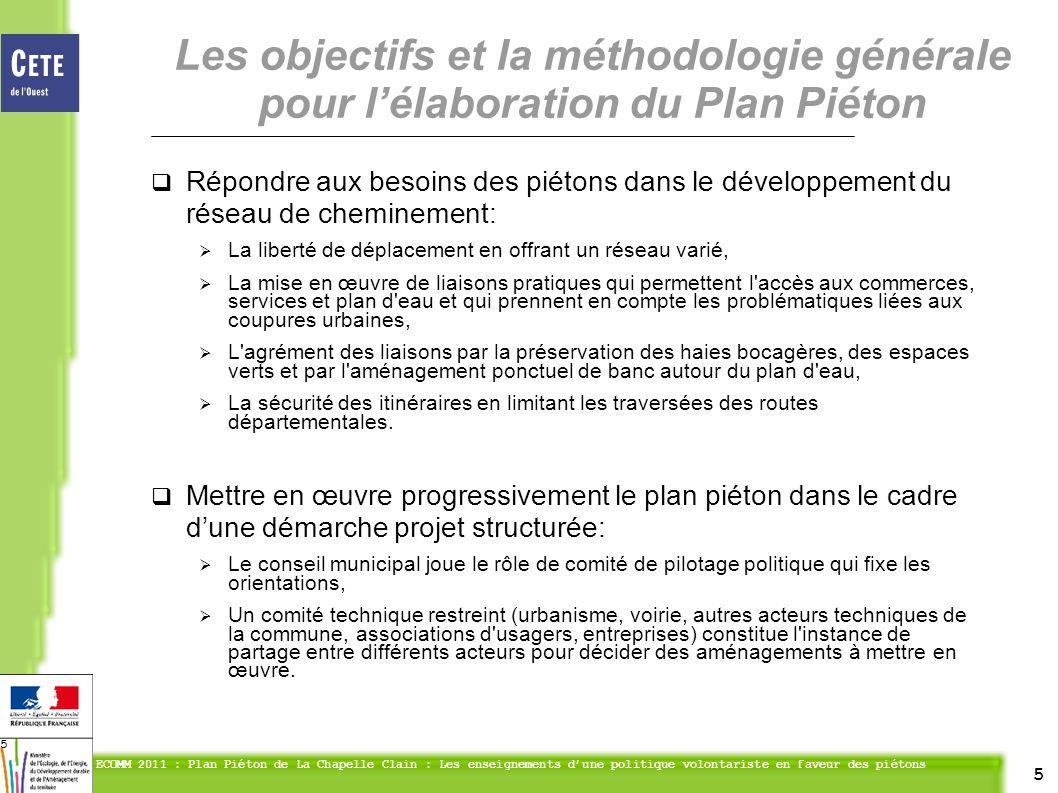 5 ECOMM 2011 : Plan Piéton de La Chapelle Clain : Les enseignements dune politique volontariste en faveur des piétons 5 Répondre aux besoins des piéto