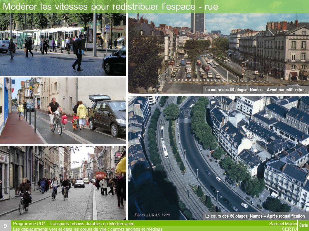 Samuel Martin CERTU Programme UD4 : Transports urbains durables en Méditerranée Les déplacements vers et dans les cœurs de ville : centres anciens et
