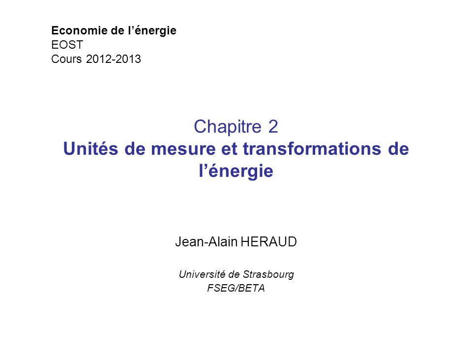 Chapitre 2 Unités de mesure et transformations de lénergie Jean-Alain HERAUD Université de Strasbourg FSEG/BETA Economie de lénergie EOST Cours 2012-2