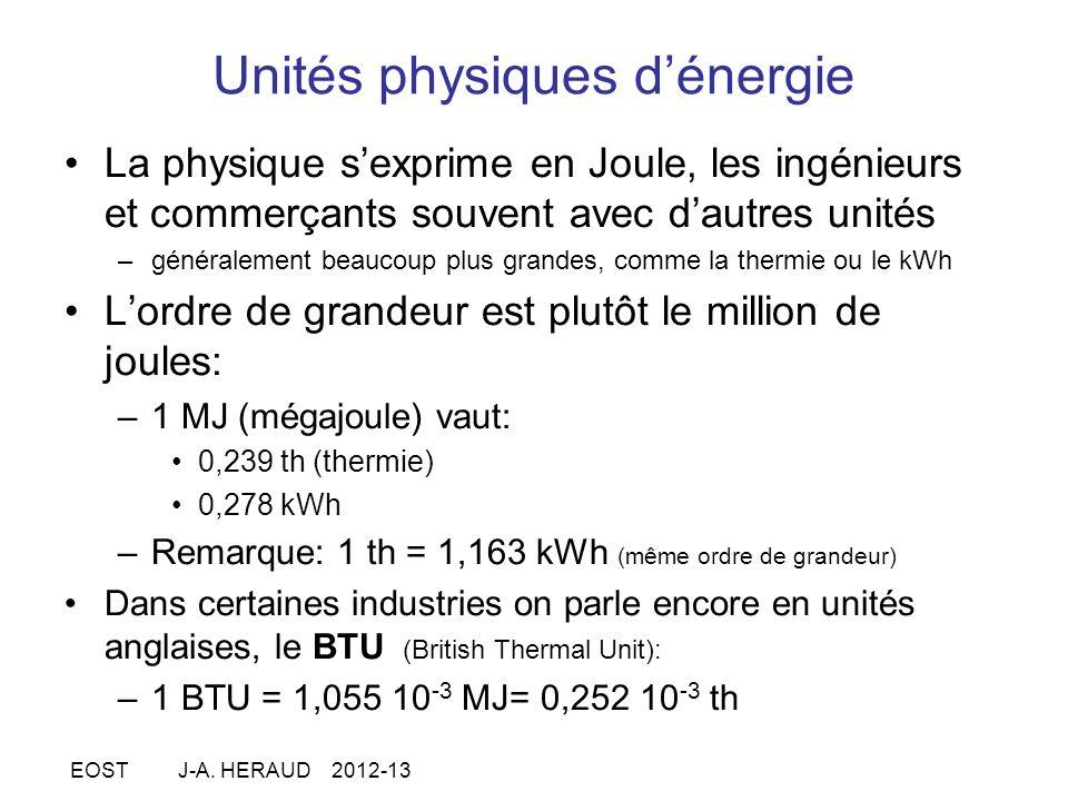 Unités physiques dénergie La physique sexprime en Joule, les ingénieurs et commerçants souvent avec dautres unités –généralement beaucoup plus grandes, comme la thermie ou le kWh Lordre de grandeur est plutôt le million de joules: –1 MJ (mégajoule) vaut: 0,239 th (thermie) 0,278 kWh –Remarque: 1 th = 1,163 kWh (même ordre de grandeur) Dans certaines industries on parle encore en unités anglaises, le BTU (British Thermal Unit): –1 BTU = 1,055 10 -3 MJ= 0,252 10 -3 th EOST J-A.