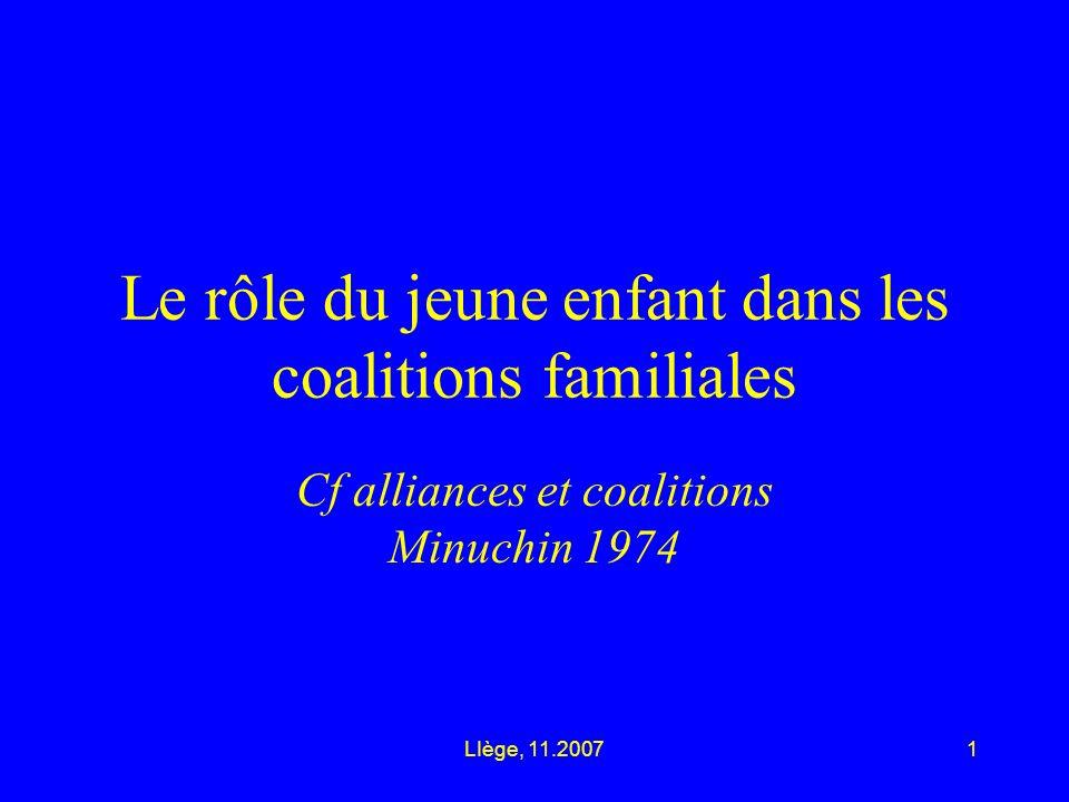 LIège, 11.20071 Le rôle du jeune enfant dans les coalitions familiales Cf alliances et coalitions Minuchin 1974