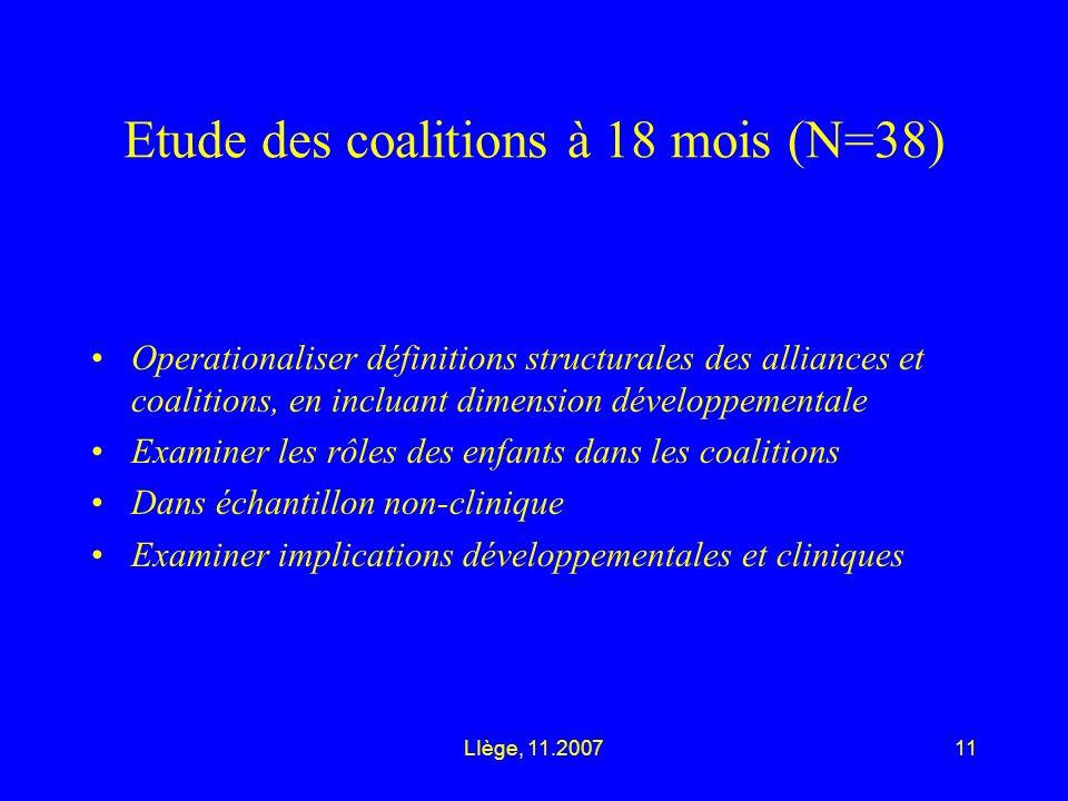 LIège, 11.200711 Etude des coalitions à 18 mois (N=38) Operationaliser définitions structurales des alliances et coalitions, en incluant dimension développementale Examiner les rôles des enfants dans les coalitions Dans échantillon non-clinique Examiner implications développementales et cliniques