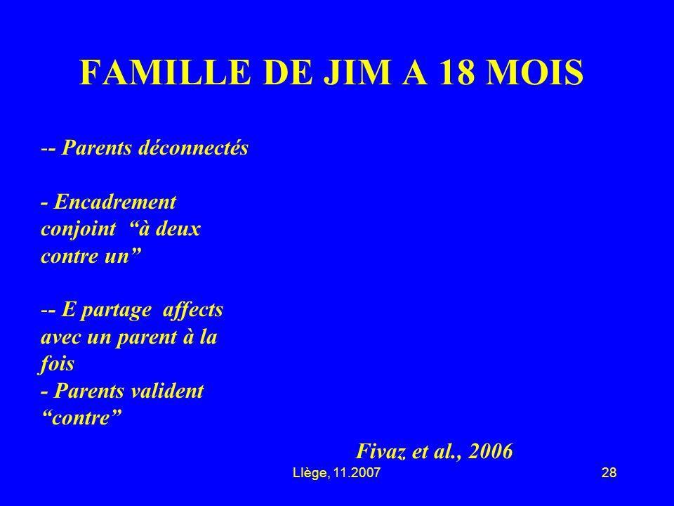 LIège, 11.200728 FAMILLE DE JIM A 18 MOIS Fivaz et al., 2006 -- Parents déconnectés - Encadrement conjoint à deux contre un -- E partage affects avec un parent à la fois - Parents valident contre