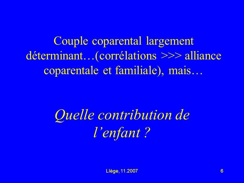 LIège, 11.20076 Couple coparental largement déterminant…(corrélations >>> alliance coparentale et familiale), mais… Quelle contribution de lenfant ?