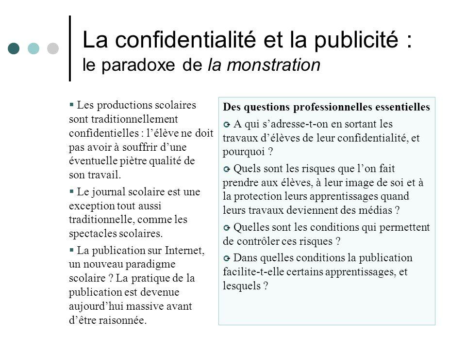 La confidentialité et la publicité : le paradoxe de la monstration Les productions scolaires sont traditionnellement confidentielles : lélève ne doit pas avoir à souffrir dune éventuelle piètre qualité de son travail.