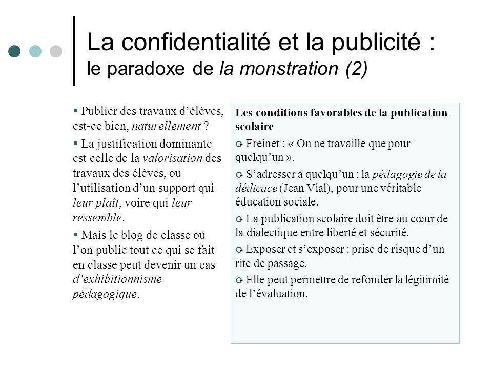 La confidentialité et la publicité : le paradoxe de la monstration (2) Publier des travaux délèves, est-ce bien, naturellement .